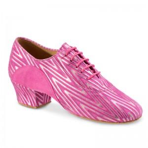 R377 Damen Trainingsschuh geteilte Sohle Nubukleder pink hell Nubukleder pink mit silber