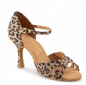R383 offene Damen Tanzschuhe Leder Leopard