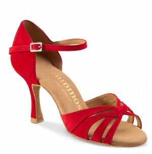 R383 offene Damen Tanzschuhe Nubukleder rot