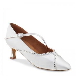 R390 Damen Standard Tanzschuhe Satin weiß Absatz 50R Größe 40,5 B05