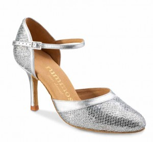 R407 geschlossene Damen Tanzschuhe Glitter Lux silber