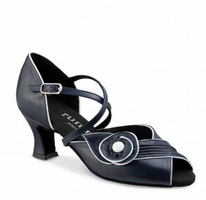 R510 Damen Hobby Tanzschuhe Leder weiß Leder Marineblau