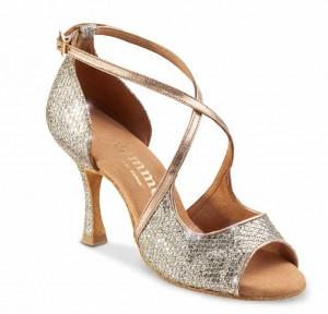 R545 Damen Tanzschuhe Leder Platinum Glitter Lux gold