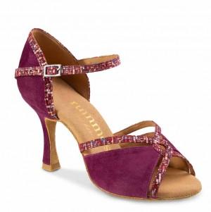 R550 Damen Tanzschuhe offen Nubukleder Bordeauxviolett Leder Bordeauxviolett Detail