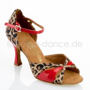 R385 Damen Tanzschuhe Leder Leopard Lackleder rot Absatz 60R Größe 36 C01