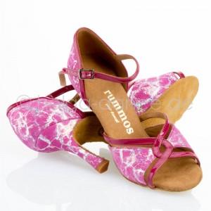R550 Damen Tanzschuhe offen Lackleder pink Leder pink silber Absatz 70N Größe 37 C05