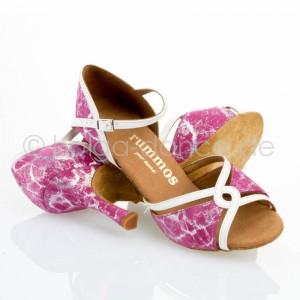 R550 Damen Tanzschuhe offen Lackleder weiß Leder pink silber Absatz 70N Größe 37 B07