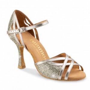 CLAIRE Damen Tanzschuhe Leder Platinum Glitter Lux gold