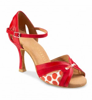 ISABEL Damen Tanzschuhe Leder rot Nubukleder rot Leder weiß mit roten Tupfern