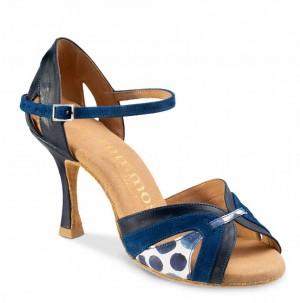 ISABEL Damen Tanzschuhe Leder Marineblau Nubukleder Indico blau Leder weiß mit blauen Tupfern