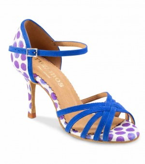 MARYLIN Damen Tanzschuhe Nubukleder blau und  Leder weiß mit lila Tupfen