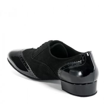 OSCAR Herren Tanzschuhe Nubukleder schwarz und Lackleder schwarz Absatz 35M Größe 43
