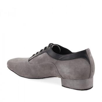 RICARDO Herren Tanzschuhe Leder schwarz Nubukleder grau Absatz 35 Größe 43