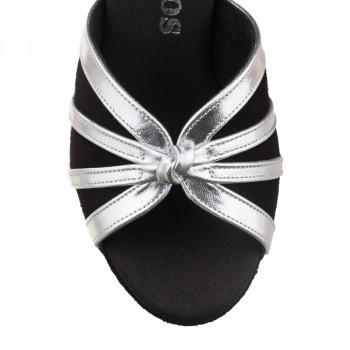 R367 Damen Tanzschuhe Leder silber Nubukleder schwarz