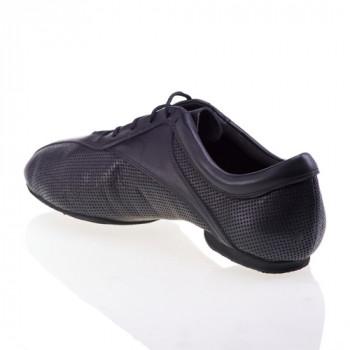 SKY sehr leichter und flexibler Trainingsschuh Leder schwarz gelocht Leder schwarz geteilte Sohle (split sole)