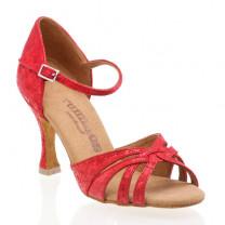 R383 offene Damen Tanzschuhe Leder rot fantasy