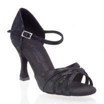 R383 offene Damen Tanzschuhe Leder schwarz Diva