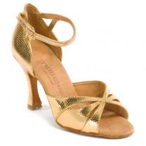 R385 Damen Tanzschuhe Leder gold Schlangenlook