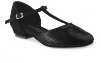 CAROL niedere Damen Tanzschuhe Nubukleder schwarz Leder schwarz Diva