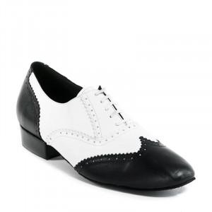 OSCAR Herren Tanzschuhe Leder schwarz und Leder weiß