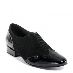 OSCAR Herren Tanzschuhe Nubukleder schwarz und Lackleder schwarz