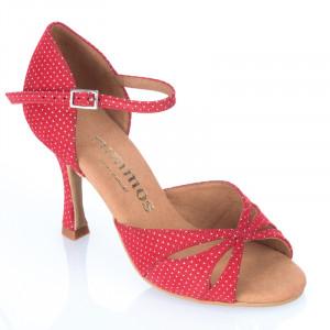 R385 Damen Tanzschuhe Leder rot mit weißen Punkten Absatz 70N Größe 38 E06