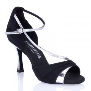 R304 offene Damen Tanzschuhe Leder silber Nubukleder schwarz