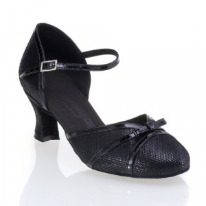 R322 Tanzschuhe mit Comfort Absatz Lackleder schwarz Leder schwarz Diva Absatz 50G Größe 42 C01