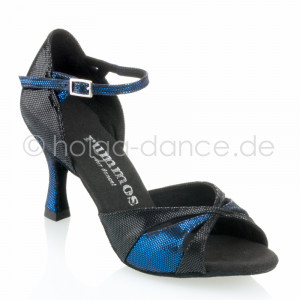 R385 Damen Tanzschuhe Leder schwarz Diva Leder blau Diva Absatz 60R Größe 37 E05