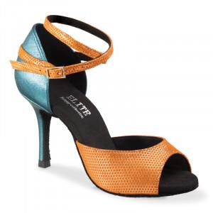 GABI offene Damen Tanzschuhe Leder orange gold und Tauro Leder