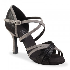 ATHENA offene Damen Tanzschuhe Leder schwarz Diva Nubukleder grau