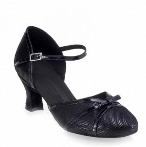 R322 Tanzschuhe mit Comfort Absatz Lackleder schwarz Leder schwarz Diva Absatz 50G Größe 36,5 D01
