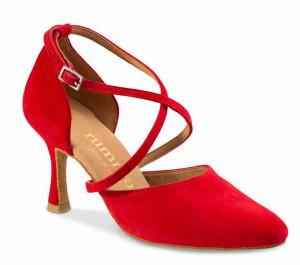 R329 Damen Tanzschuhe geschlossen Nubukleder rot