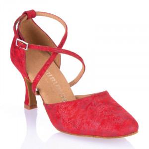 R329 Damen Tanzschuhe geschlossen Leder rot fantasy Absatz 60R Größe 41,5 C06