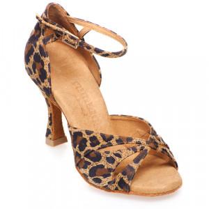 R385 Damen Tanzschuhe Leder Leopard