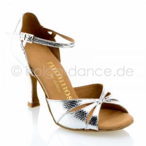 R385 Damen Tanzschuhe Leder silber Schlangenlook Absatz 70N Größe 36,5 A03