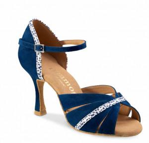 R505 Damen Tanzschuhe Nubukleder Indico blau Leder weiß mit kleinen blauen Tupfern