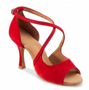 R545 Damen Tanzschuhe Nubukleder rot Absatz 50R Größe 39