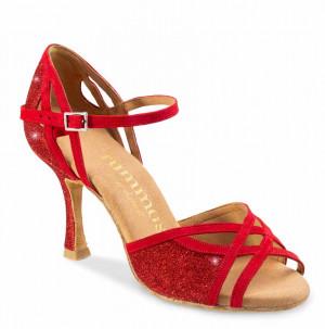CLAIRE Damen Tanzschuhe Nubukleder rot Glitzer rot Absatz 70N Größe 39 A03