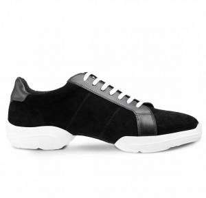FlyOne Dance Sneaker Leder schwarz Nubukleder schwarz geteilte Sohle (split sole)