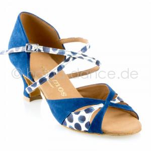 KATJA Damen Latein Tanzschuhe Nubukleder Indico blau Leder weiß mit blauen Tupfern Absatz 50G Größe 38,5 B01