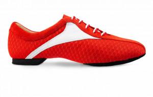 Sky SKY sehr leichter und flexibler Trainingsschuh mit geteilter Sohle für Herren und Damen Leder weiß Nubukleder rot Stoff rot Absatz 10 Größe 42 B07