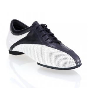 SKY sehr leichter und flexibler Trainingsschuh Leder weiß gelocht Leder schwarz geteilte Sohle (split sole)