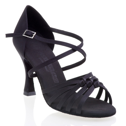 R358 Damen Riemchenschuhe mit 3 Knoten Satin schwarz