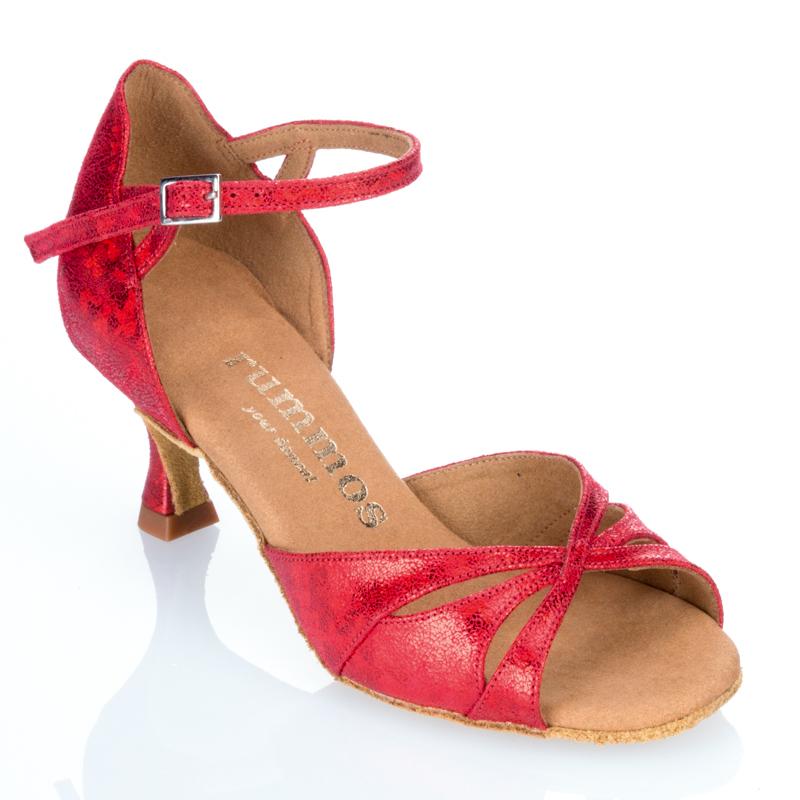 R385 Damen Tanzschuhe Leder rot fantasy Absatz 50R