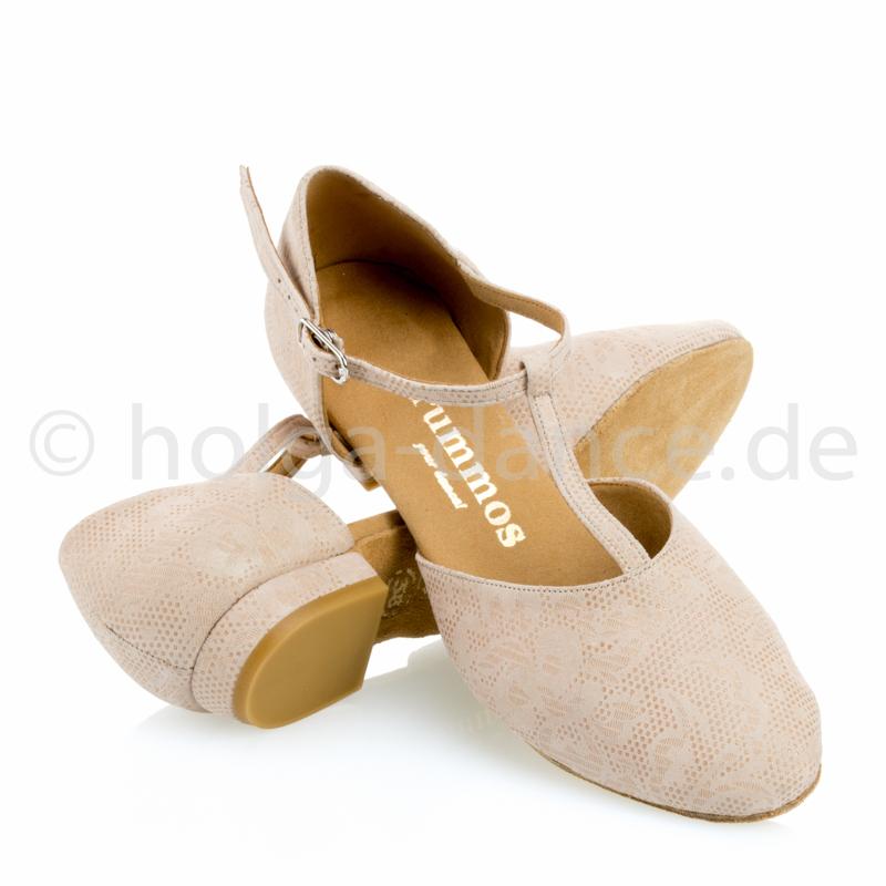 CAROL niedere Damen Tanzschuhe Leder Nehru Tan Absatz 20 Größe 39,5