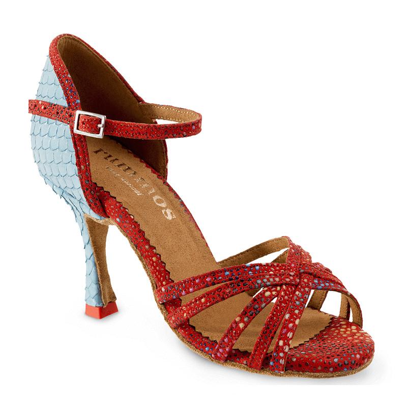 MARYLIN Damen Tanzschuhe Leder rot mit Glitzerpunkten / Fischschuppen blau Absatz 70N Größe 41