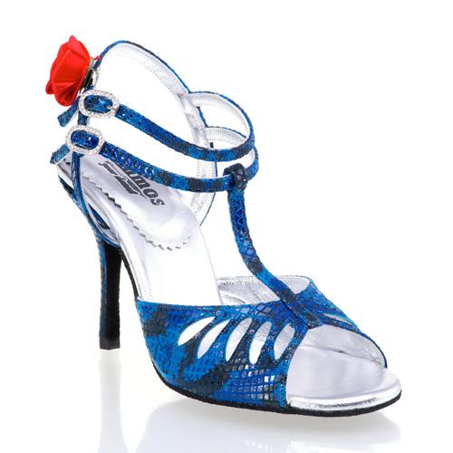Pasion - rummos Tanzschuhe Damen Tango  -Schwarzblau Snake