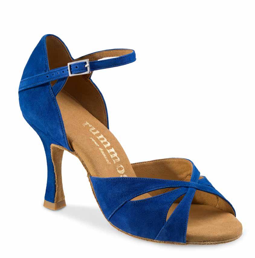 R385 Damen Tanzschuhe Nubukleder Royalblau Absatz 70R Größe 39